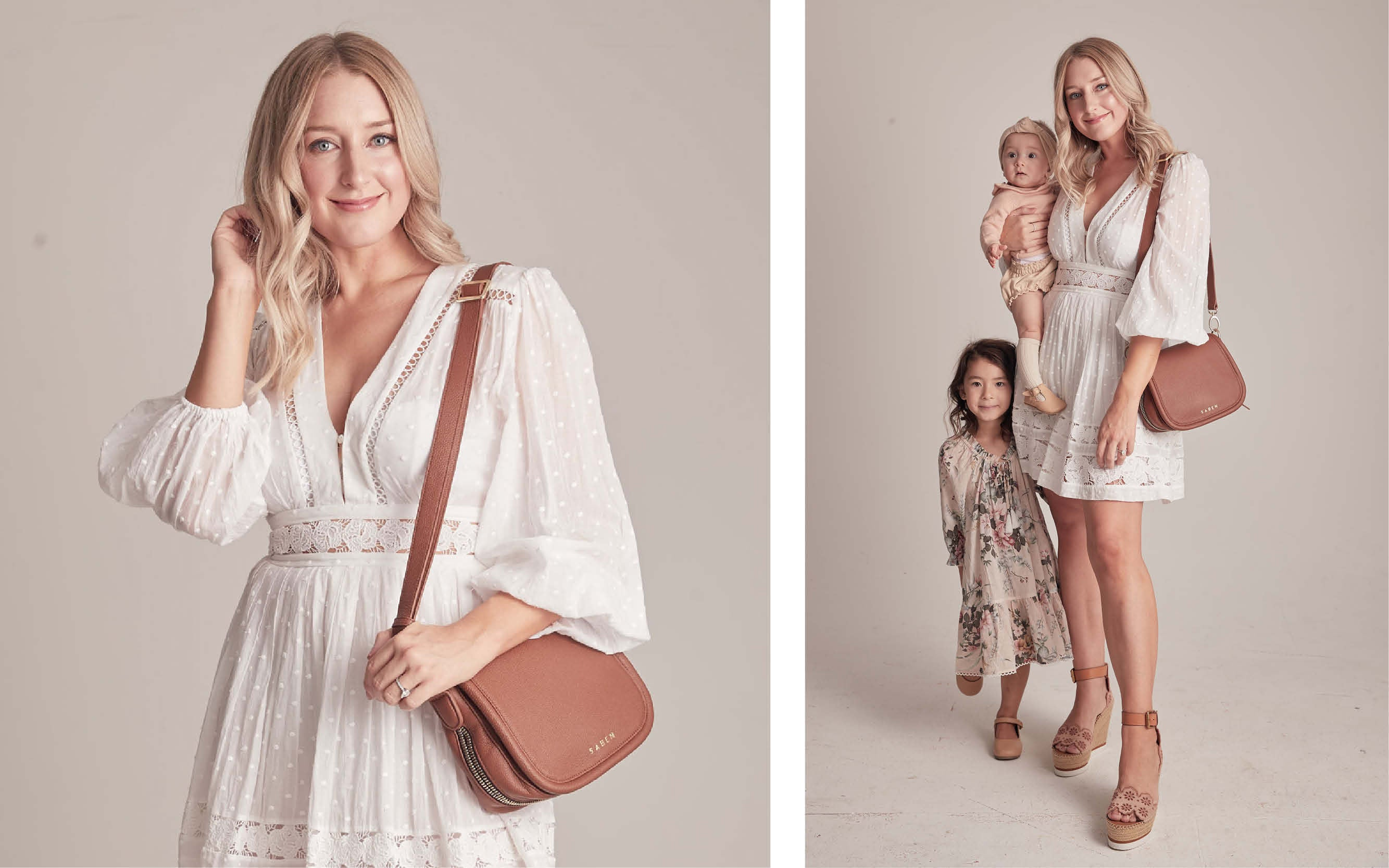 Holly Wright wears Saddie chestnut handbag for Saben Mothers Day Campaign