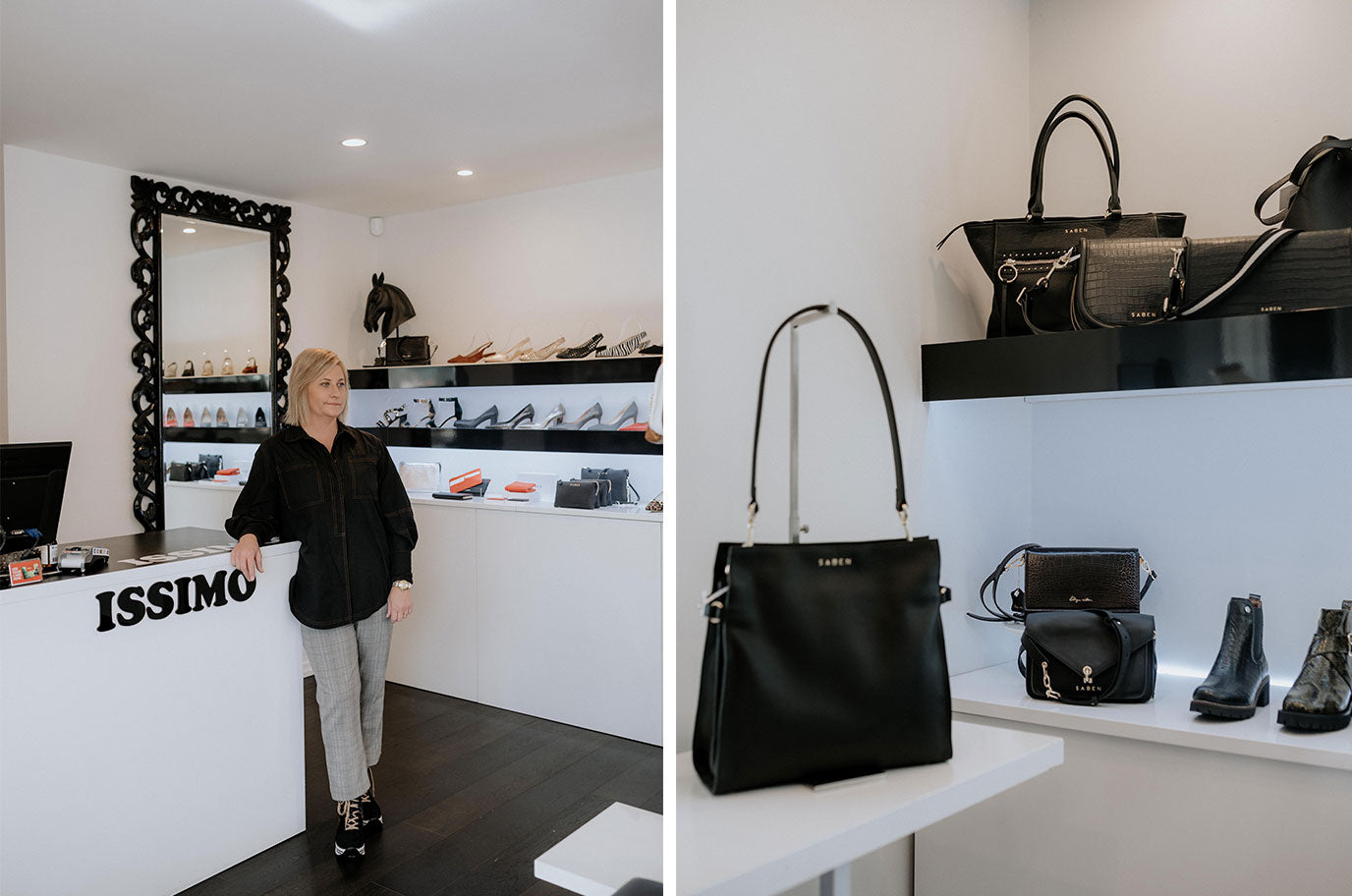 belinda from issimo christchurch standing in store with saben handbags and shoes