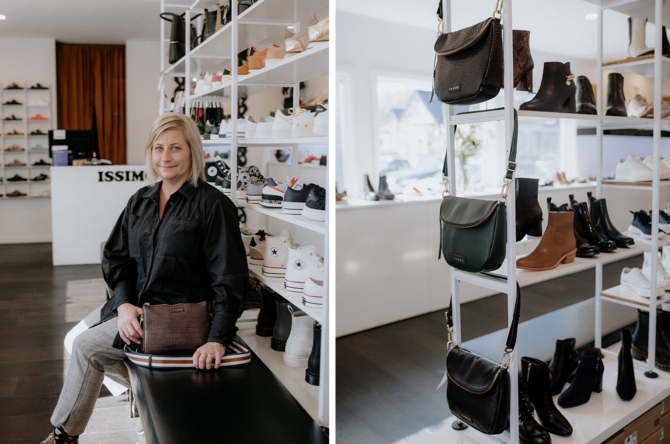 belind from issimo christchurch with her favourite saben leather bag in brown croc