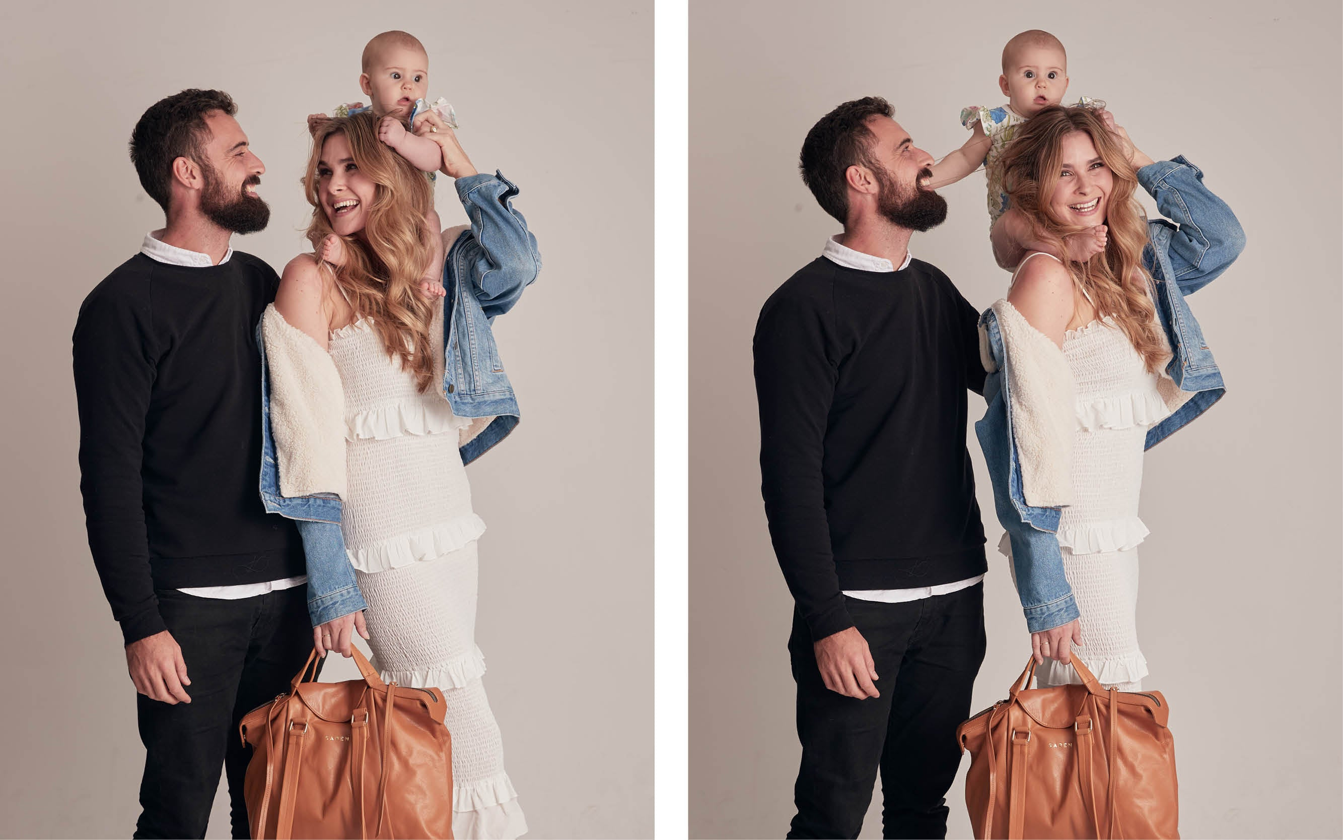 Jessica Britten and Warren Durling with daughter Stevie for Saben handbag