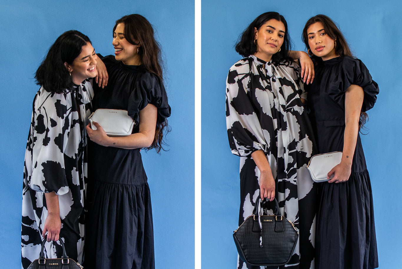 Nia and Talia from Layplan holding Saben Liv and Odile handbags