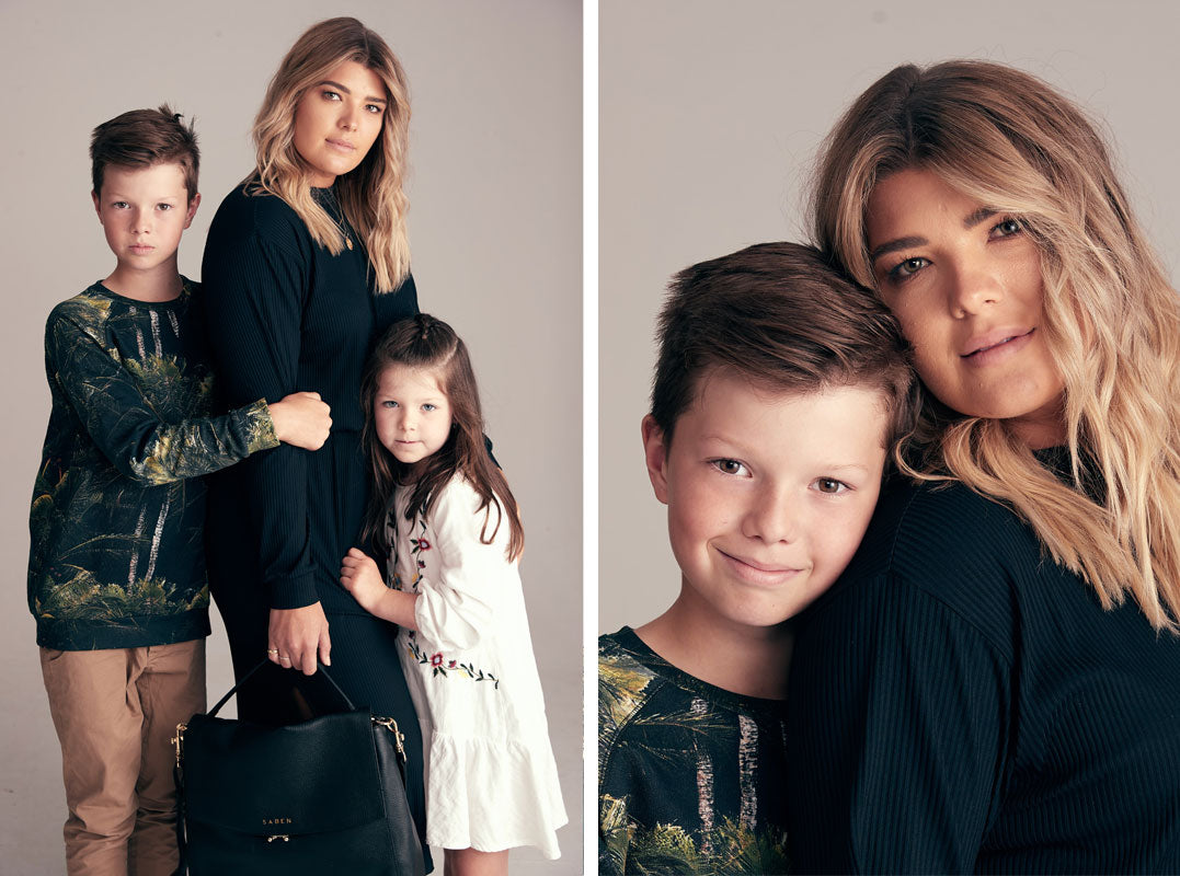 Mandy Duncan with Noah and Bowie for Saben Mother's Day Campaign
