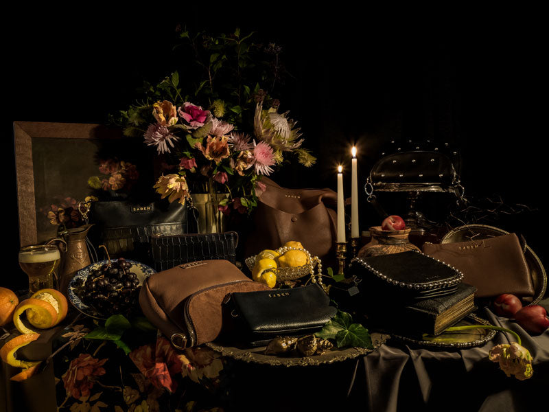 Saben handbags Winter collection inspired by renaisance Vanitas hero image