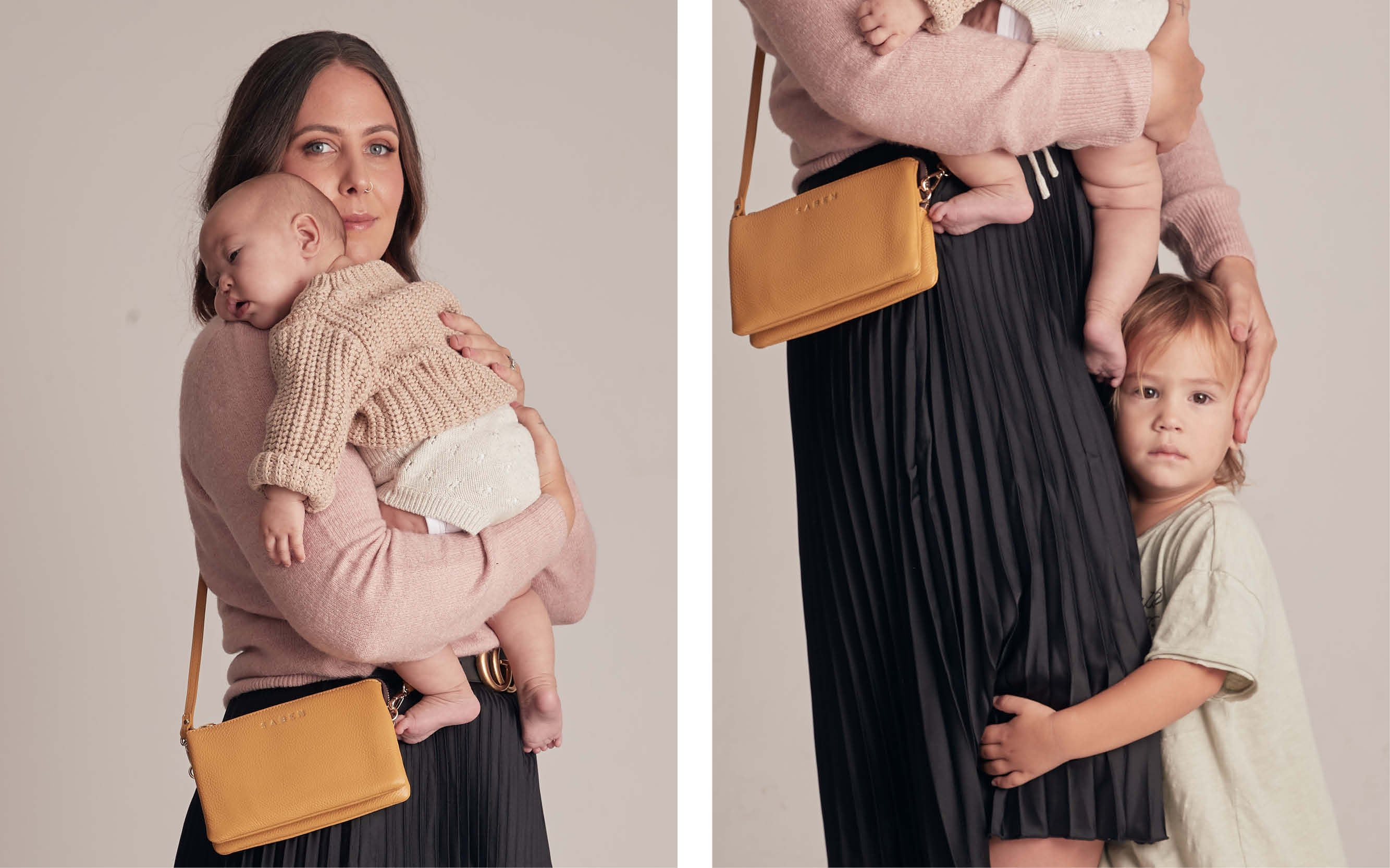 Stephanie Peeni wears Tilly mustard for Mothers Day image project