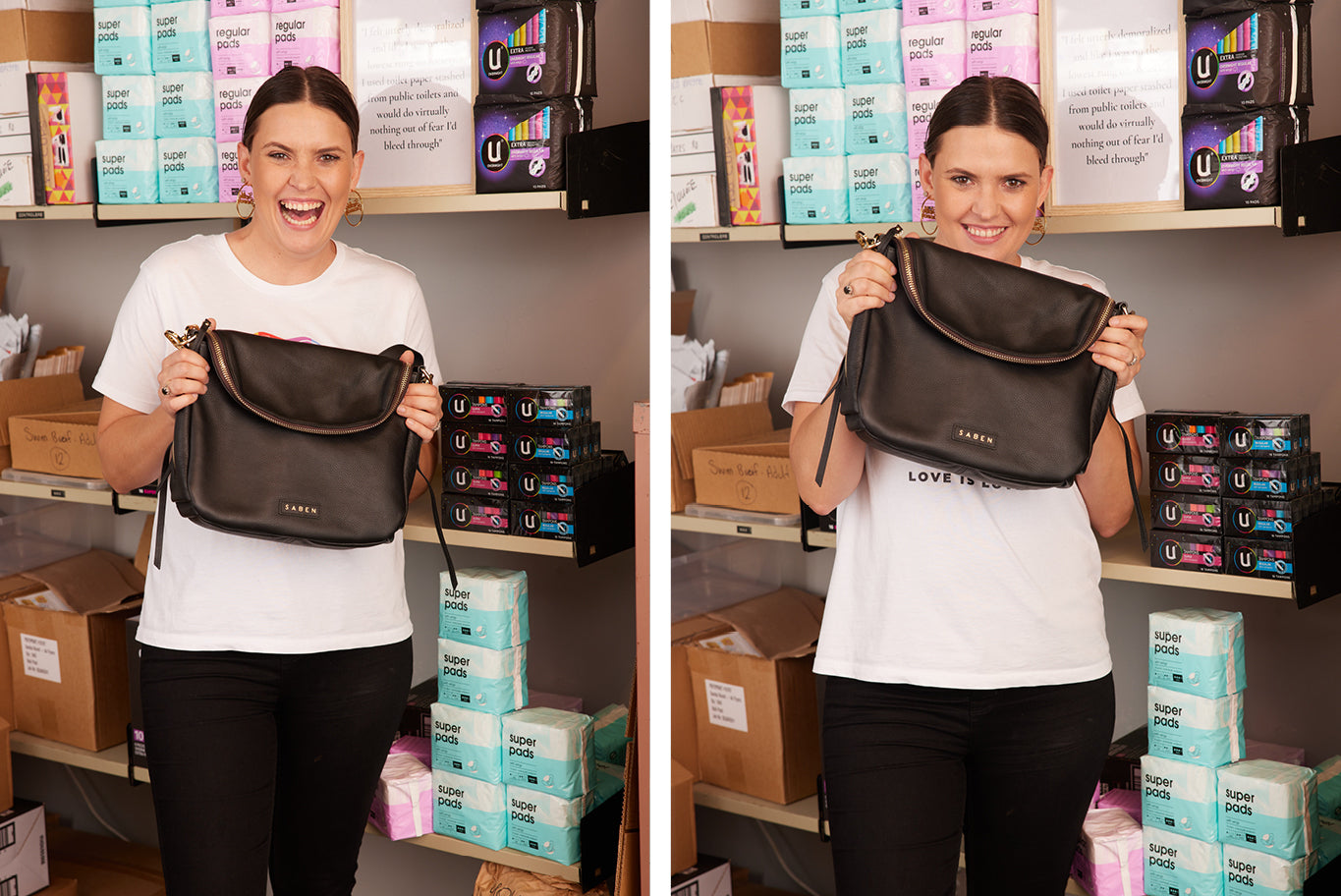 Danika Revell of The Period Place holding her new Frankie Handbag