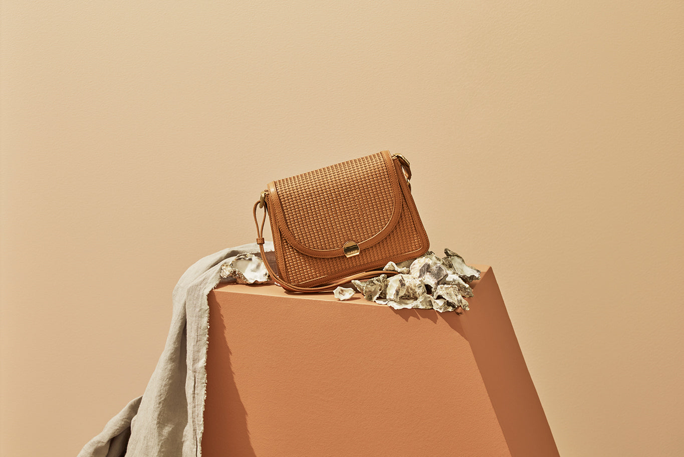 Saben SS20 Vessel collection Goldie handbag tan styled by karlya smith photographed by belinda merrie