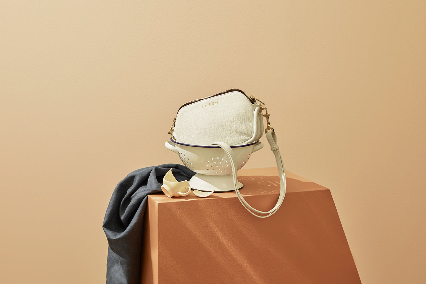 Saben SS20 Vessel collection Odile handbag white styled by karlya smith photographed by belinda merrie