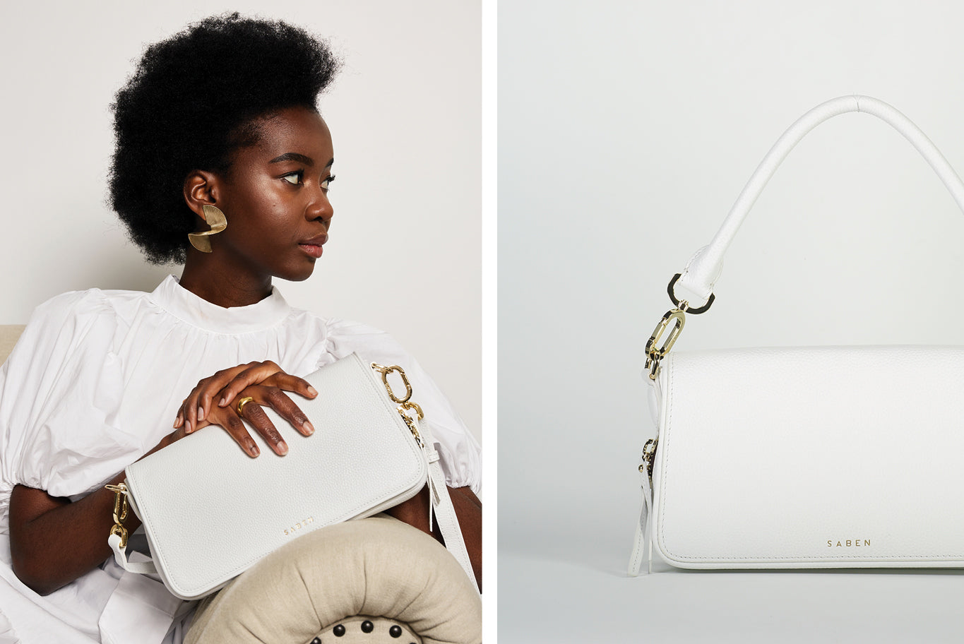 Saben SS20 Prelude collection featuring new style white leather handbag Brooklyn