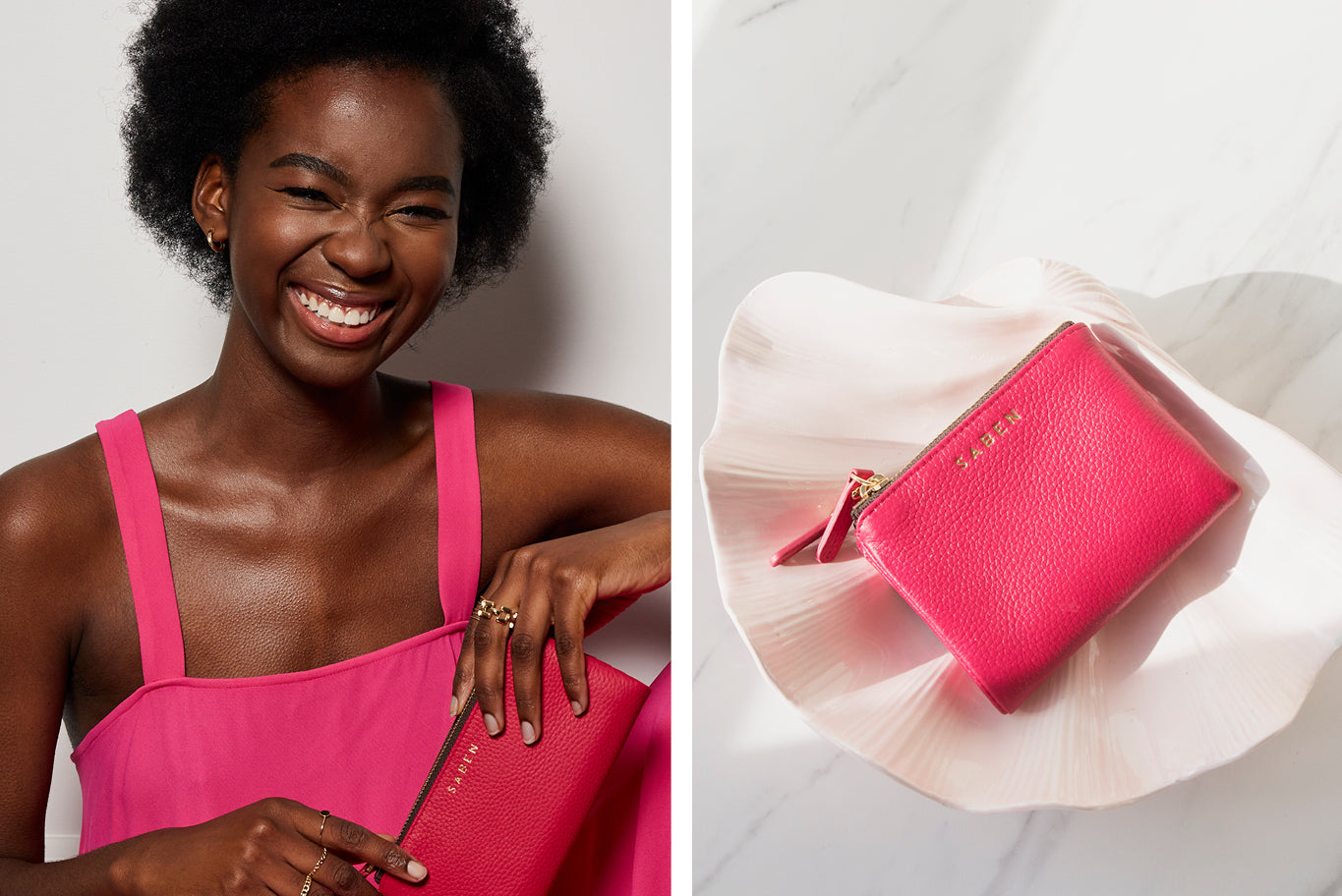 Saben Magenta Pink leather wallet