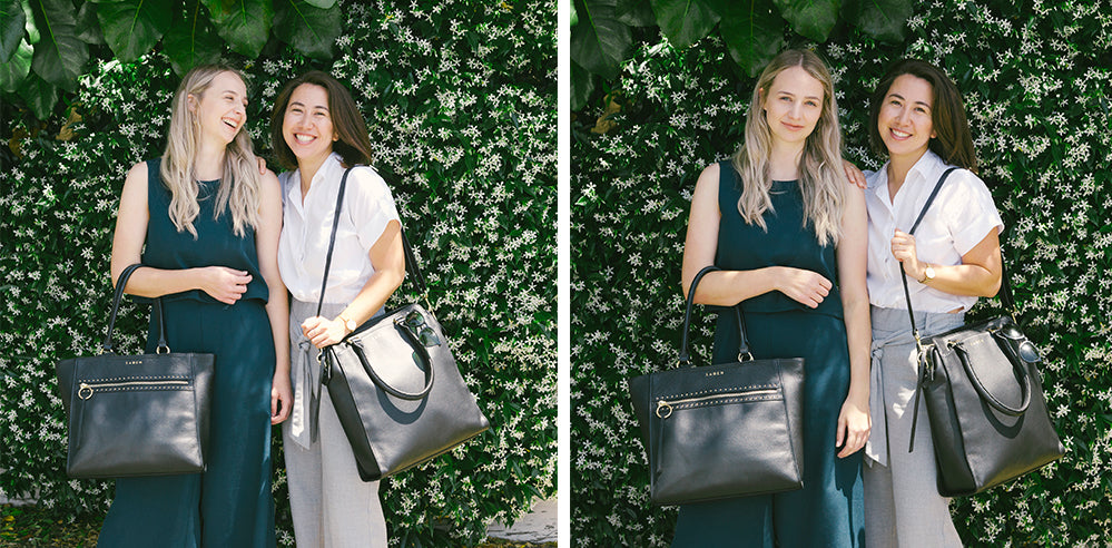 Ash and Emily from Reemi Org wearing Saben handbags Taylor and Mackenzie