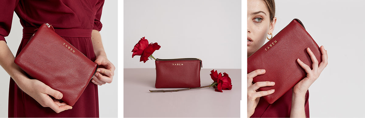 Saben Rosewood red colour leather handbags and accessories perfect for a Valentines Day gift