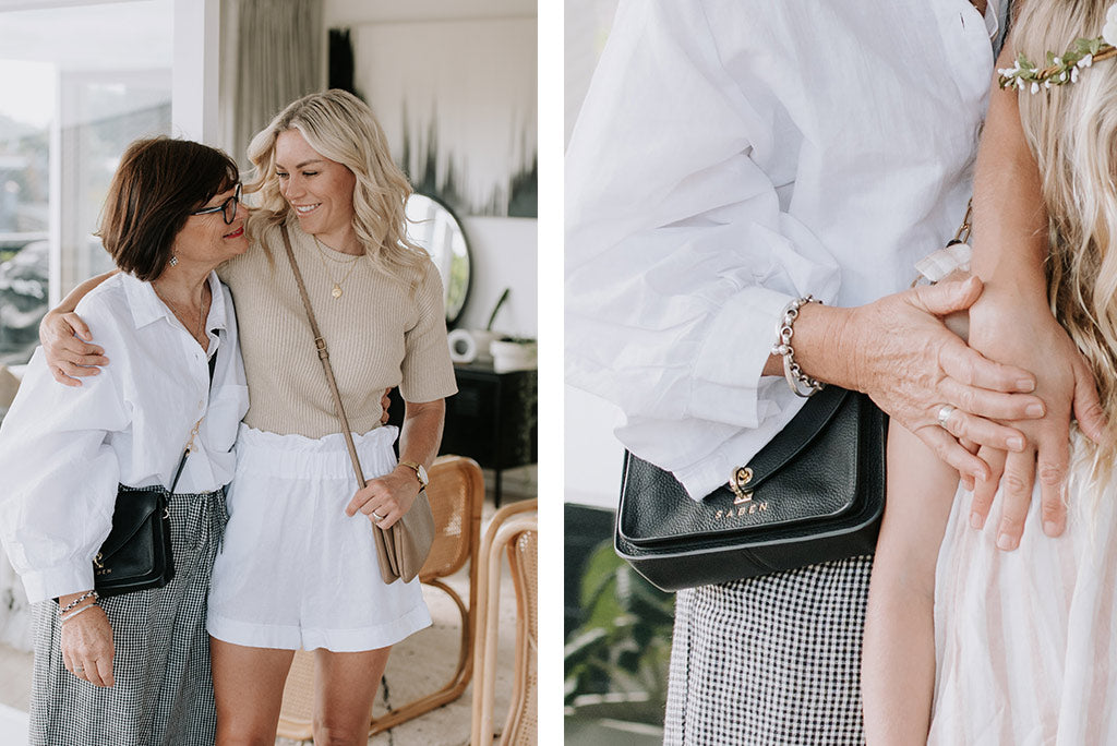 Kirsten reid wears saben handbag made out of 100% leather designed in New Zealand