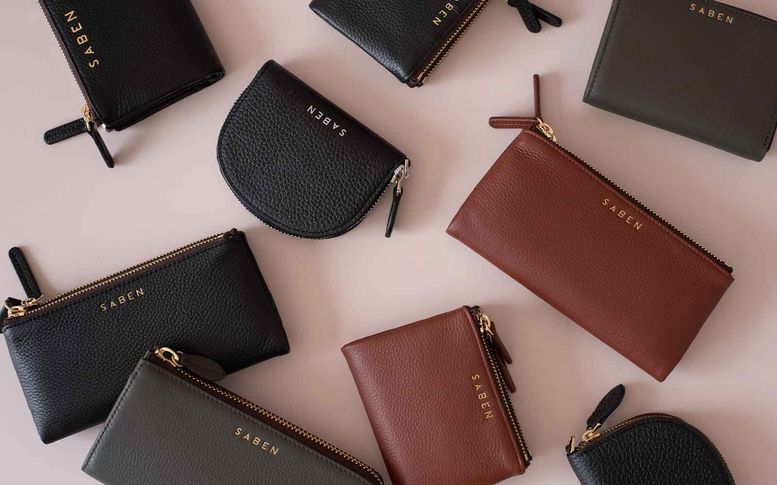 Saben leather wallets in assorted sizes and colours