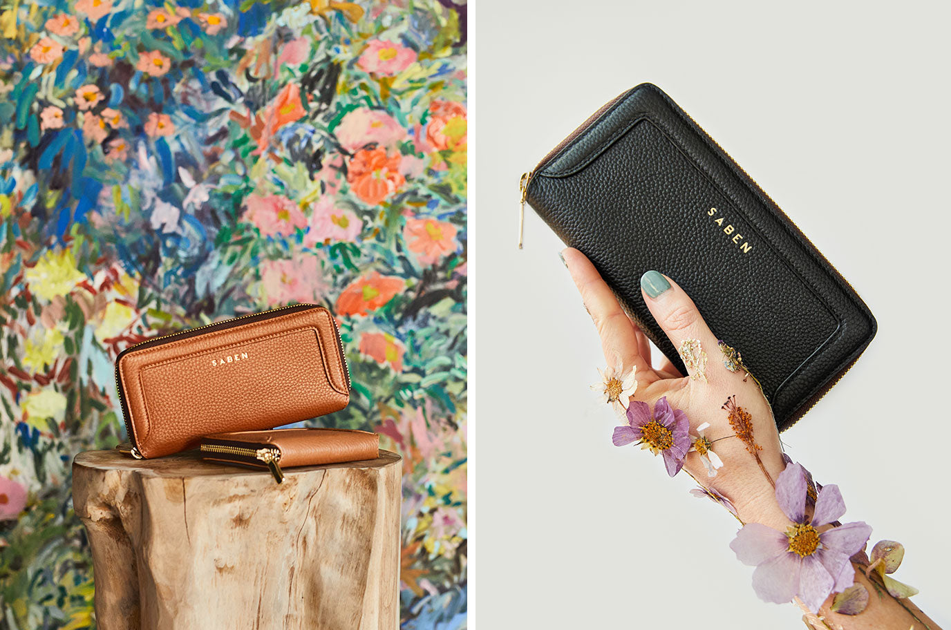 saben leather wallet in black and clay lyric
