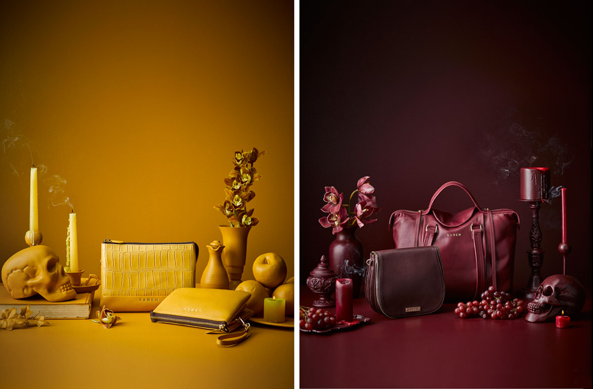 Saben leather accessories Autumn Winter 18 mustard and bordeaux campaign image styled by Amber Armitage