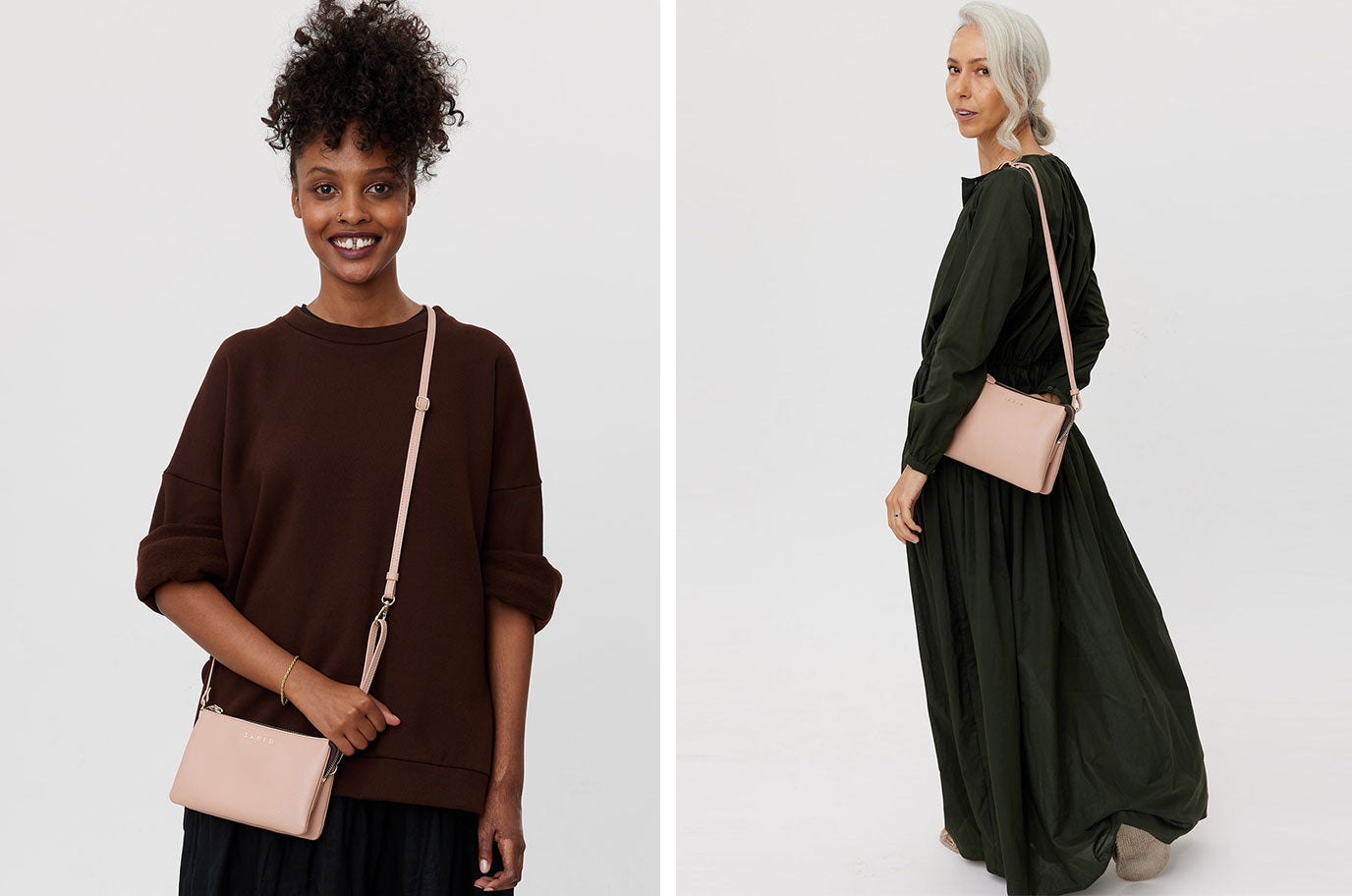 tilly and big sis tilly leather crossbody by saben in tea rose