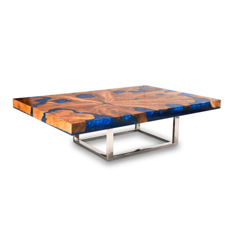 Teak & Blue Resin Inlaid Cracked Wood Coffee Table by Aire