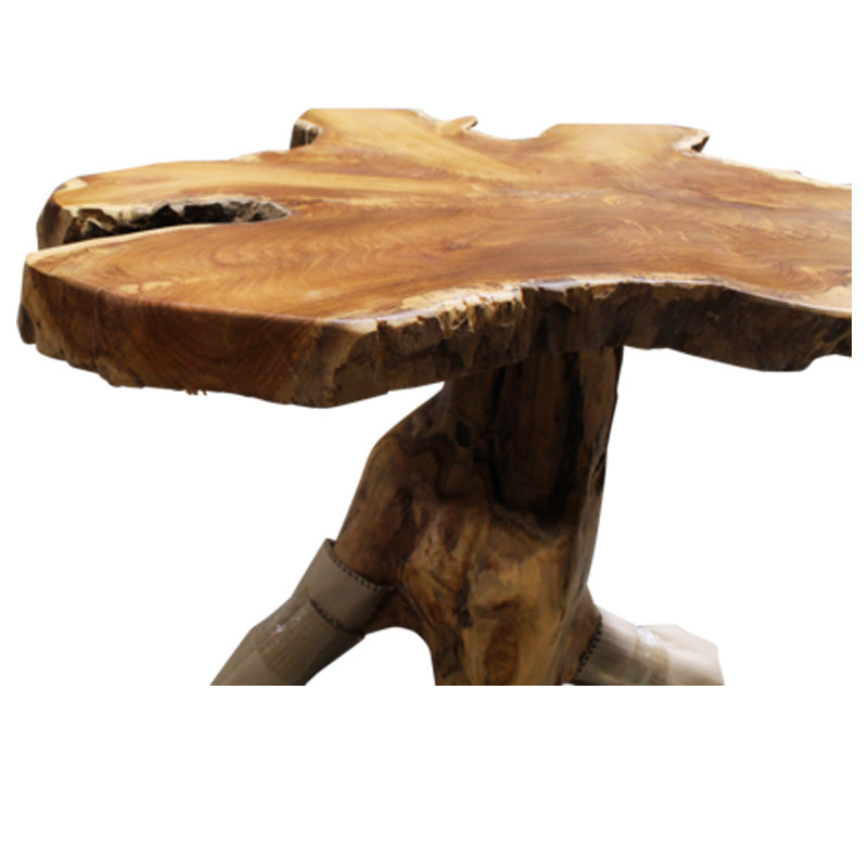 Teak Wood Slice Live Edge Accent Tables
