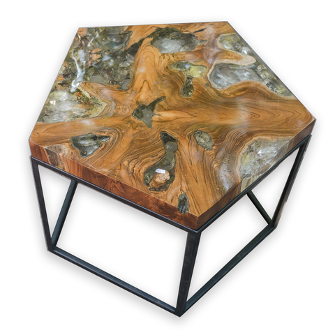 Pentagon Teak Root and Resin Wood Side Table CR-2023