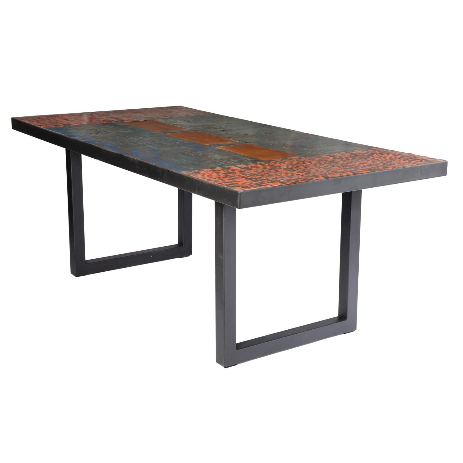Metal Recycled Oil Drum Dining Room Table R-2010 by AIRE Furniture
