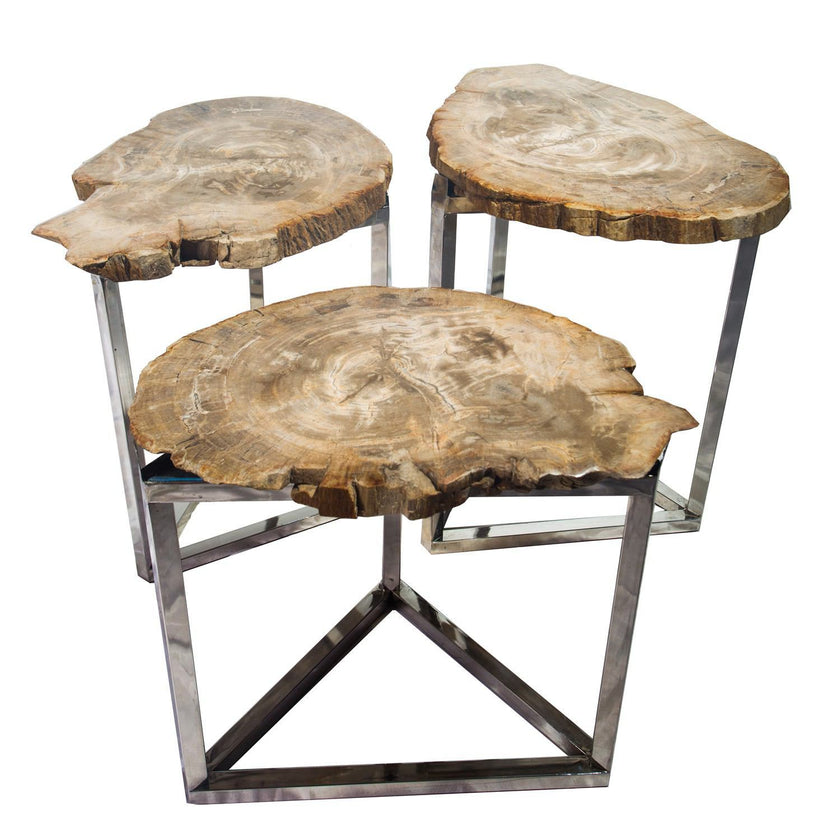 Petrified Wood Park Slope Side Tables PF-2015 by AIRE Furniture