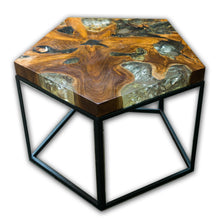 Pentagon Teak Root and Resin Side Table CR-2023 by AIRE Furniture