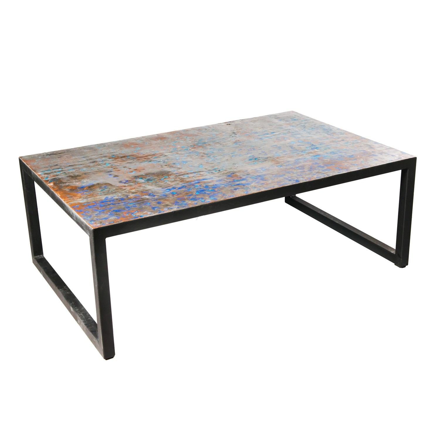 Large Metal Recycled Oil Drum Coffee Table R-1110 by AIRE Furniture