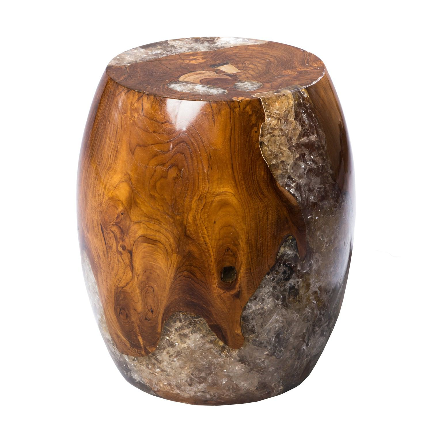 Teak Root and Resin Drum Stool CR-2030 by AIRE Furniture