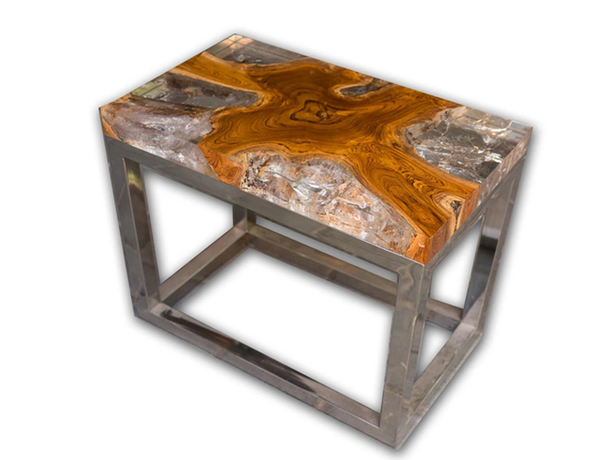Teak Root and Resin Wood Side Table CR-2022