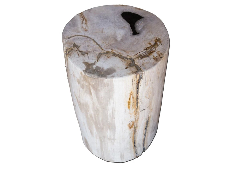 Petrified Wood Accent Stool-Cream/Brown Side Table by Aire