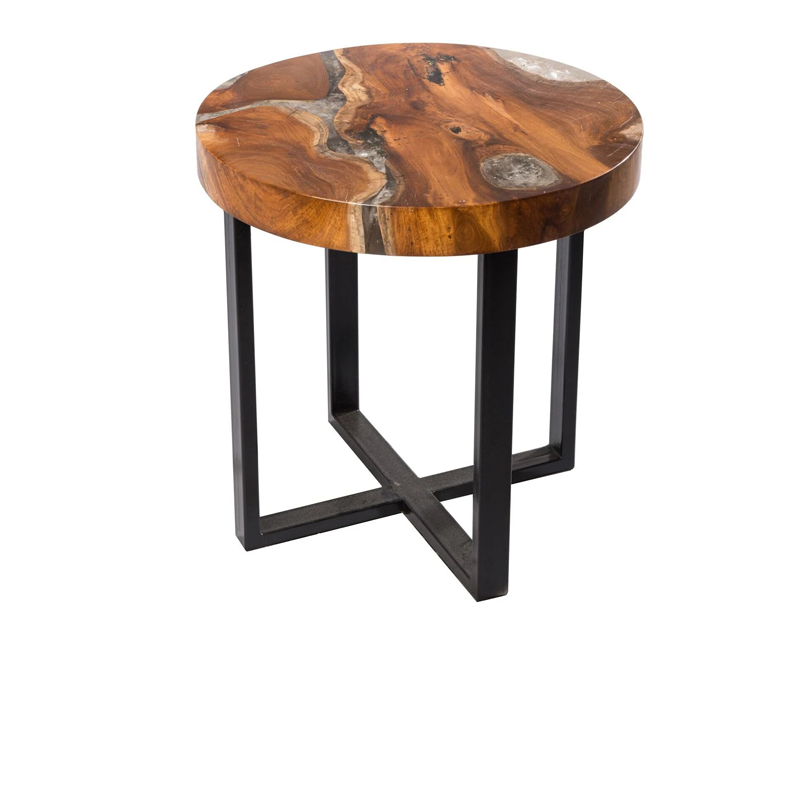 Round Teak & Resin Infused Accent Side Table Brown/Ochre/White by Aire