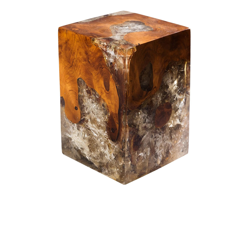 Resin Inlaid Teak Wood Square Block Stool-Ochre/Ivory/Brown by Aire