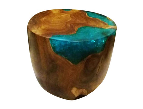 Teak Root & Cracked Resin Round Stools - Sea Blue