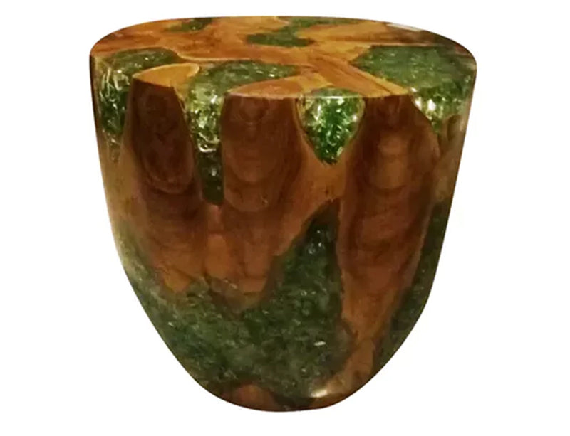 Teak Root & Cracked Resin Round Stool- Green