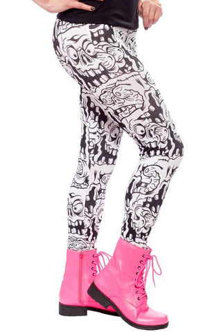 Melting monsters white leggings