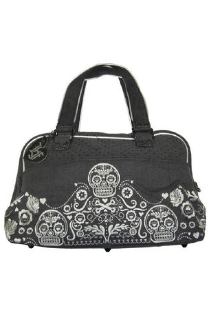 Bandana embroidered skull and crossbones bag