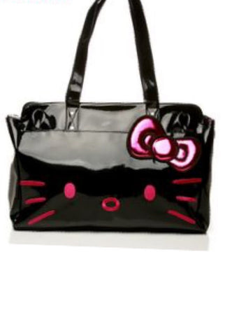 hello kitty face black patent shoulder bag