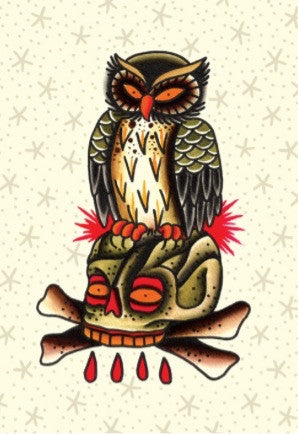 Owl and skull greeting card