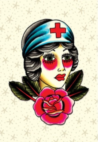 Nurse tattoo flash greeting card