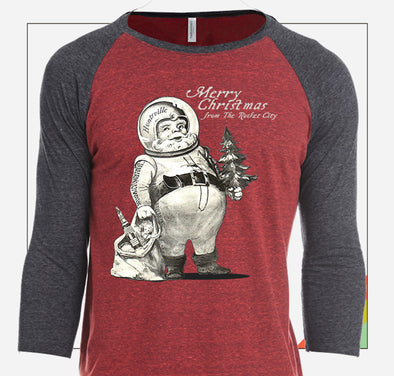 """Rocket City Astronaut Santa"" Huntsville Christmas Raglan"