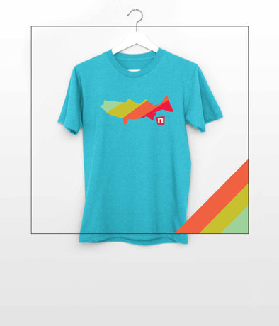 NOGGINHED Brand Smith Lake Tshirt Youth XS / Heather Caribbean YOUTH, Smith Lake - 'Fish Stripes' Tshirt