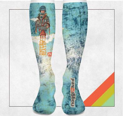 "NOGGINHED Brand Socks ""BLAST OFF HUNTSVILLE"" Knee Socks 