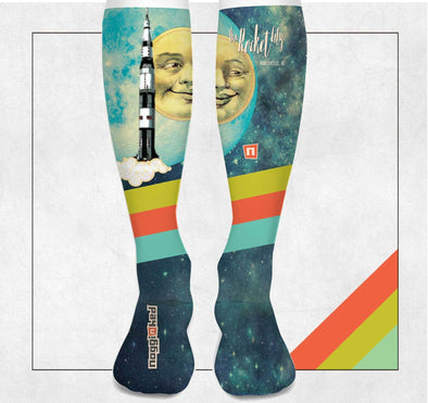 "NOGGINHED Brand Socks ""Hello Moon"" Knee Socks"
