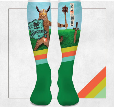 "NOGGINHED Brand Socks ""Medieval Kitty"" Knee Socks"
