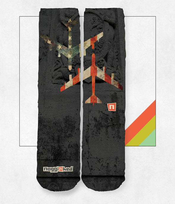 "NOGGINHED Brand Socks One Size ""B-52 WWII PLANE"" Knee Socks 