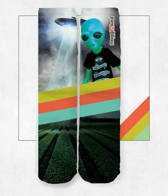 """Encounters of Some Kind"" Knee Socks - NOGGINHED Tshirt Co."