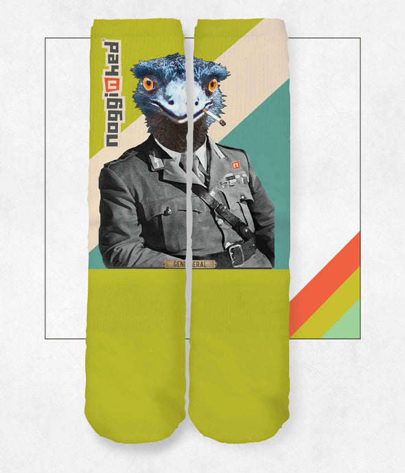 "NOGGINHED Brand Socks One Size ""General Emu"" Knee Socks"