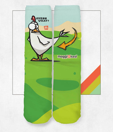 "NOGGINHED Brand Socks One Size ""Guess What?""  Chicken Bu++ Knee Socks"