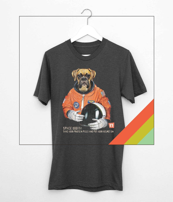 "NOGGINHED Brand Tshirts Small / Dark Heather Gray ""Space Oddity"", Boxer Astronaut Tshirt"