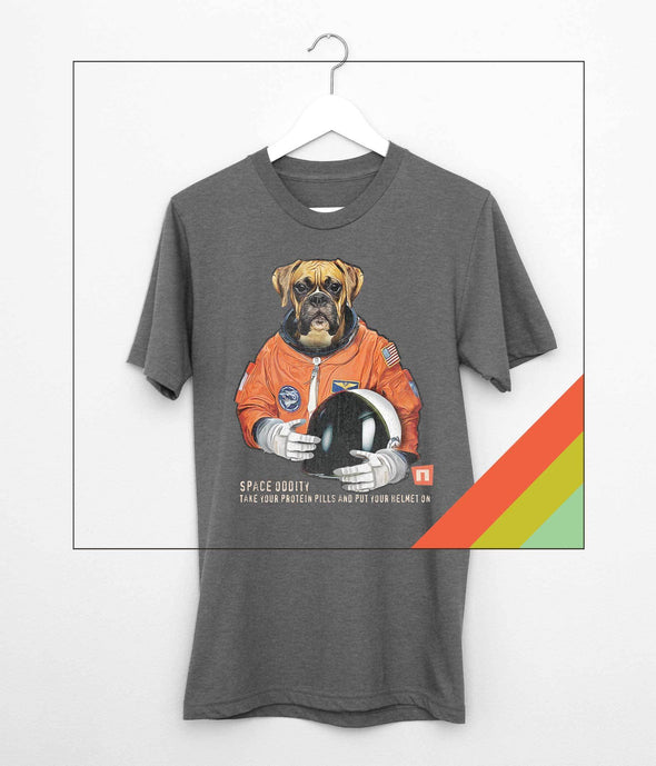 """Space Oddity"", Boxer Astronaut Tshirt - NOGGINHED Tshirt Co."